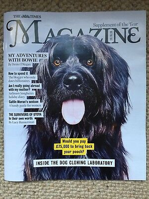 THE TIMES MAGAZINE NEW DOG CLONING COVER 20th OCTOBER 2018 DAVID BOWIE