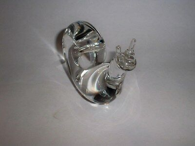 Vintage Steuben Glass Snail Paperweight Crystal Clear Signed
