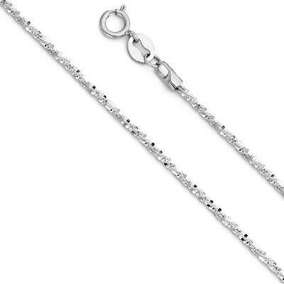 "Real 14k White Gold 1MM GLITTER Rope Chain Necklace 16"" 18"" 20"" 22"" inch 1 MM"