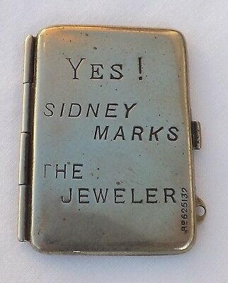Antqiue Double Stamp Case Holder Chatelaine Fob Advertising Sidney Marks Silver