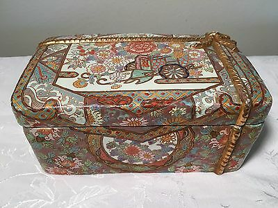 Asian Porcelain Container (Antique China Chinese Box Bowl Famille Rose Carriage)