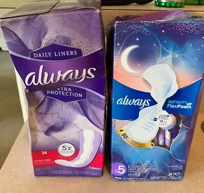 Always Extra Heavy Overnight Pads + Wings, Size 5, 24 Pads + daily liners