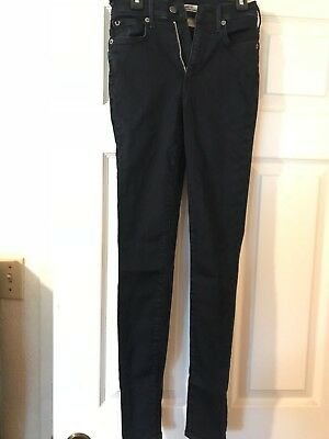 True Religion Jeans HALLE Mid Rise Super Skinny Size 24 Women's Dark Wash