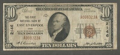 1929 Type 1 $10 The First National Bank of East Liverpool Ohio Charter 2146