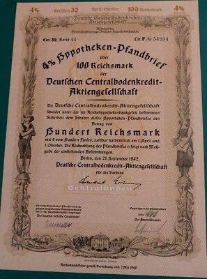 Germany Berlin 1942 Pfandbrief UNCANCELLED - NO HOLES Bond Share Anleihe