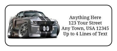 60 '67 Ford Mustang GT Fastback GLOSSY Photo Quality Return Address Labels