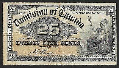 """Canada 25 Cents 1900 Fractional Currency, P 9b, """"shinplasters"""""""