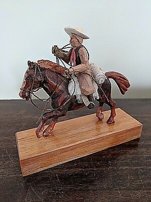 cowboy on a horse - handmade on wood wood carving horse - great gift idea