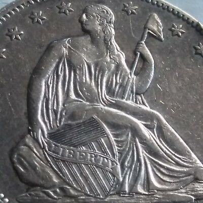 1858 seated liberty half dollar sharp details full liberty and eagle feathers