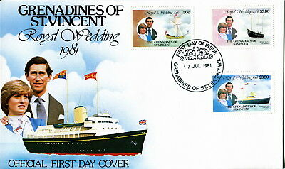 1981 Genadines St Vincent - Yachts. Royal Wedding of Prince Charles & Diana. FDC