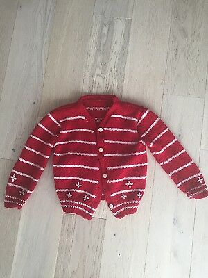 Vintage Baby Red Knit Sweater in Size 12-24 months