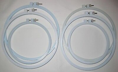 """Lot of 6 Light Blue Round Plastic Embroidery Hoops with screw 6"""" and 8"""""""
