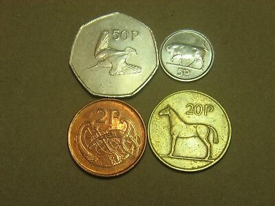 IRELAND    2 , 5  , 10  &  50  PENCE    1986 - 2000  / 4 coins /