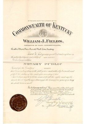 William J Fields, Kentucky Governor 1923-27: 1927 signed commission
