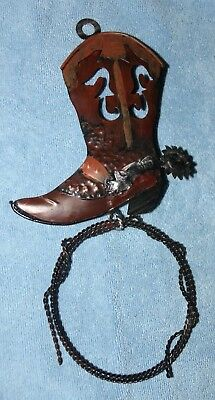 Western Decor Cowboy Boot and Lasso Metal Wall Hanging