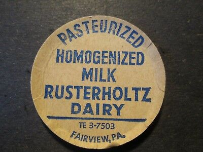 Milk Bottle Cap Rusterholtz Dairy Fairview Pa