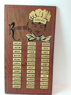 "Vintage Black Americana Wooden Peg Board Shopping List Reminder ""Oscar"" the Chef"