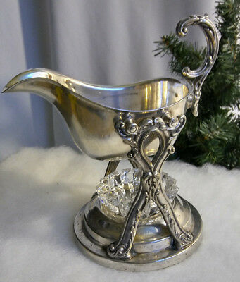 Vintage English Silver Gravy Train Boat Swing Tilt Stand & Glass Candle Warmer