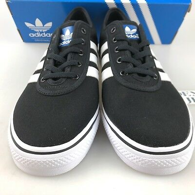 low priced 86180 1153b Adidas Men C75611 Adi Ease Black White Canvas Skate Casual Shoes Size 11