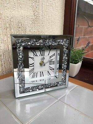 Loose Diamante Mantle Table Clock Roman Number Mirrored Mantel Clock New