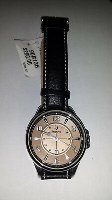 MEN'S BULOVA  ADVENTURER 96B136 WATCH QUARTZ Black Leather Strap