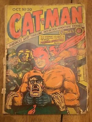 CATMAN COMICS #20 CLASSIC HITLER STRANGULATION 1943 No Back Cover