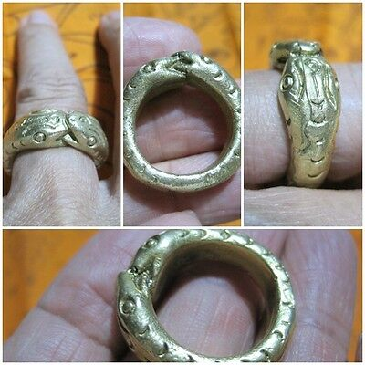Brass Ring 1999 Size 9 LP Oim & 2 Snakes Thai Rare Amulet A21-A3