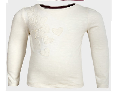 Girls NEW Cream Off White HEARTS  T Shirt TOP Long Sleeves Cotton 12 - 18 months