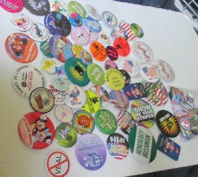 Huge lot of 100 mixed Collectible BUTTON PINS mixed sizes most round, some vtg