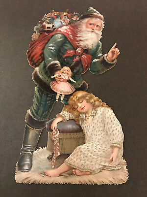 Large, vintage die cut scrap FATHER CHRISTMAS / WEIHNACHTSMANN, girl, stocking,