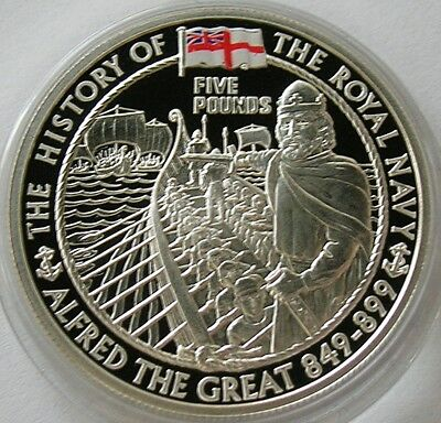 2003 Alderney  Silver Proof Five Pounds Coin  Alfred The Great