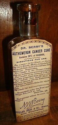 Antique Cutler & Co Dr. Berry's Canker Cure Bottle Nursing Sore Mouth & Nipples