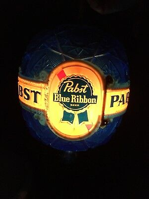 1960s Pabst Blue Ribbon Beer Revolving Cut Crystal Motion Wall Sign Light Sconce