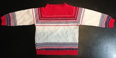 VTG Cradle Knit 6-12 Mos Red & Cream Soft Knit Baby Christmas Sweater
