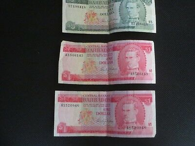 Vintage Central Bank Of Barbados Paper Money $5 And Two $1