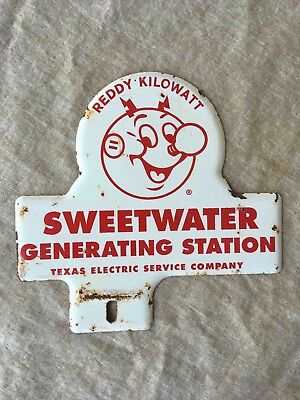 Old Texas Electric Service Co Sweetwater Station License Topper Reddy Kilowatt