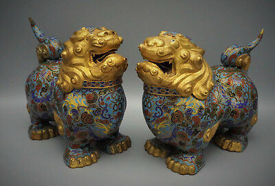 Old Chinese Pair Of Large Cloisonne Enamel Temple Lions