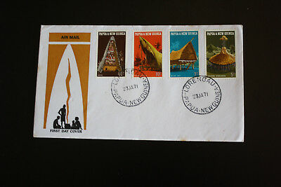 PAPUA NEW GUINEA FIRST DAY COVER HUTS and DWELLINGS 1971 MARKS #sfc59