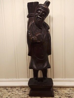 Antique Vintage Hand Carved Wood Asian Chinese Japanese Figurine Statue Old Man