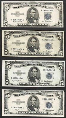1953 $5 Silver Certificate Lot Of 4 Notes Banknote Us Note National Currency