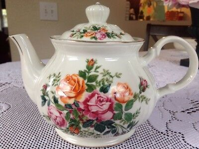 Vintage Shabby Chic Porcelain Teapot *Pink & Orange Roses Cottage Japan