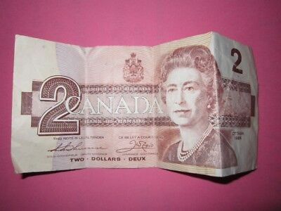 1986 Canadian $2.00 Bank Note~Not Graded~G
