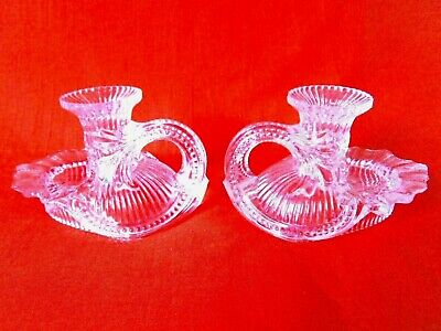 Victorian Pair of Crystal Glass Candle Holder Stands with Handle
