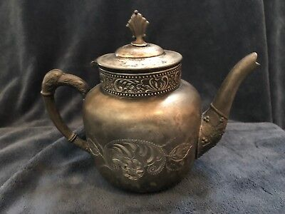 Antique C B Barker MFG CO Tea Pot Quadruple SILVER PLATE Pattern 358
