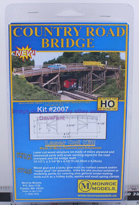 Monroe Models HO Scale 2007 Country Road Bridge Laser Cut Wood New In Box