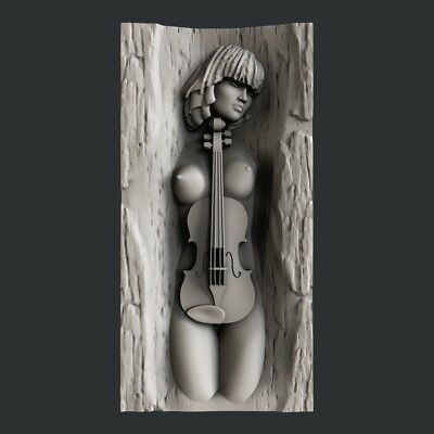 3d STL models for CNC, Artcam, Aspire, relief girl violin