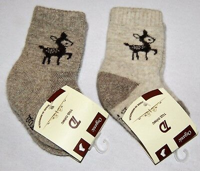 MADE IN MONGOLIA 100% ORGANIC NATURAL WOOL, 1 Pair Kid's Size 0, NEWBORN