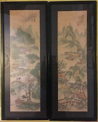 Vintage Antique Chinese Watercolours Framed Seal Marks