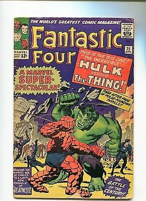 Fantastic Four  #25  4.0 (1964)  Ow/white Pages  Great Thing V Hulk Battle Key