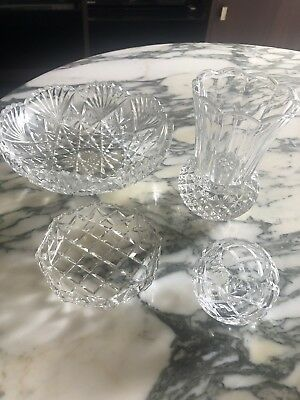 Vintage Clear Glass vase and bowl lot x 4